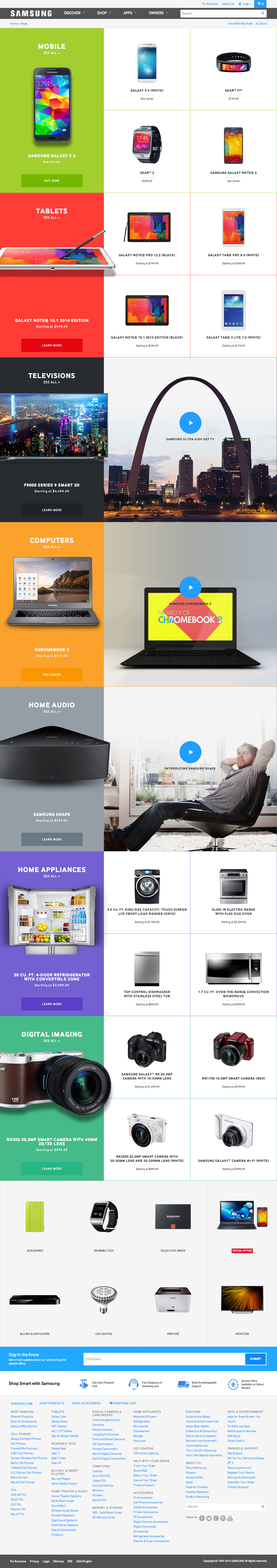 Samsung Website Design