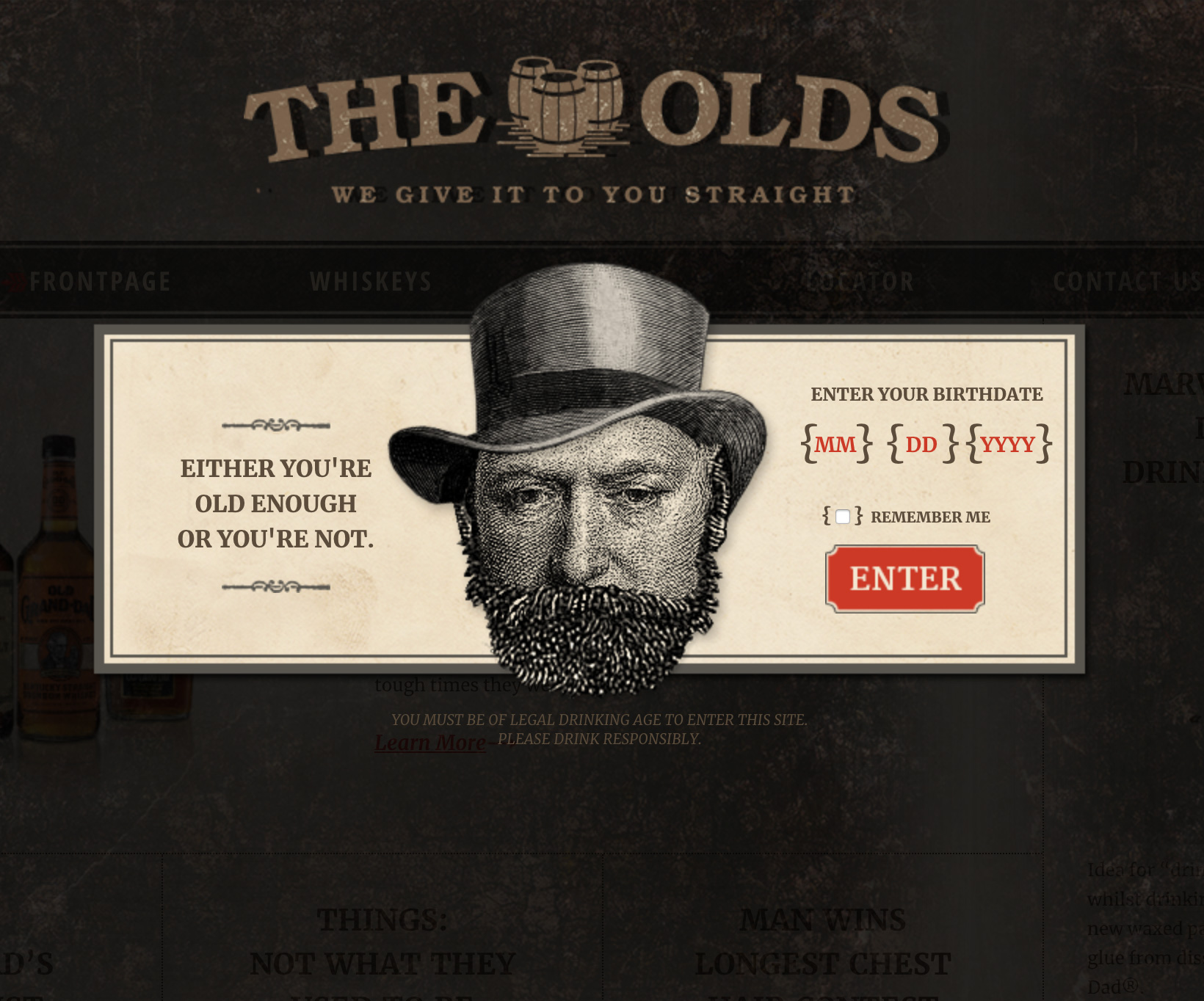 """The Olds"" Whiskey Website"